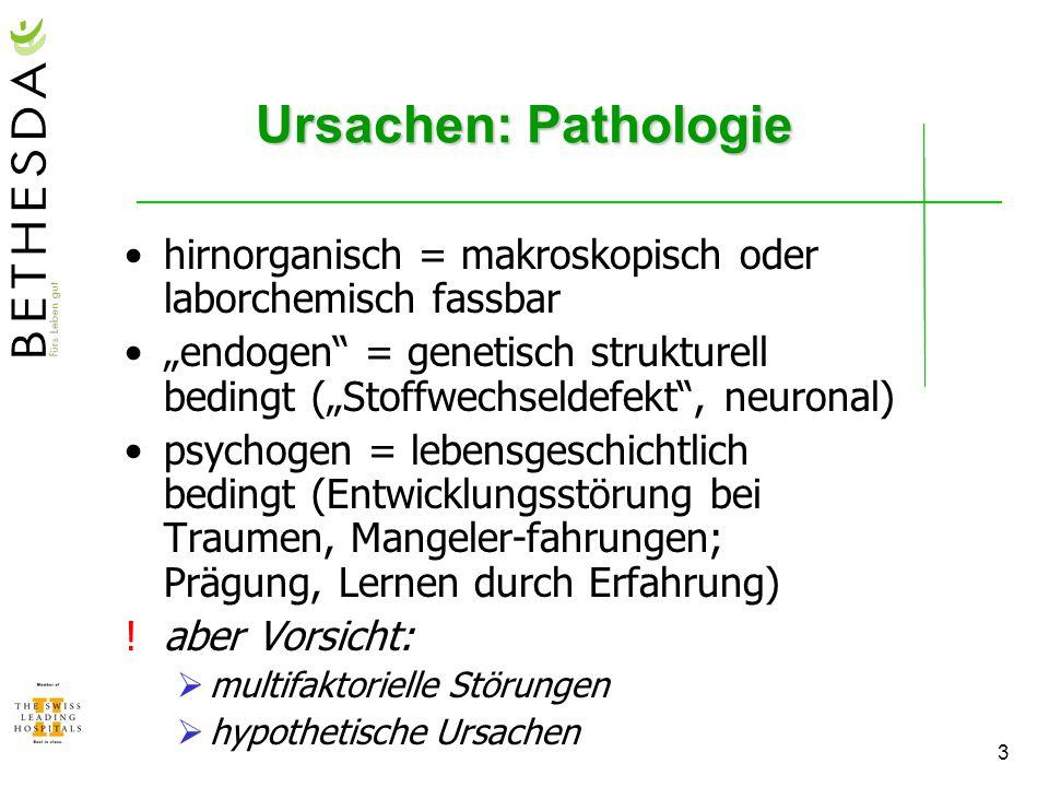 4 Ursachen: Störungsgruppen (häufig multifaktoriell) hirnorganisch angeboren: bestimmte Formen der Minderbegabung (z.B.