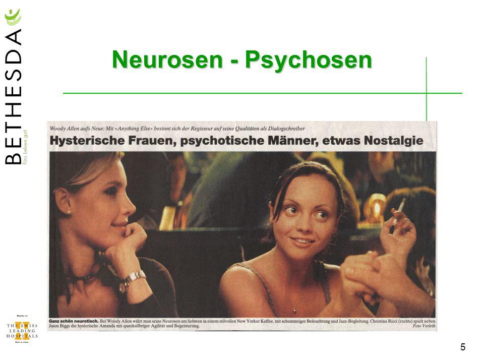 6 Psychosen (Psychotische Störungen) Uneinfühlbar (Wahrnehmungs- und Denkstörungen: Bewusstsein, Ich-Identität, Orientierung, Realitätskontrolle, Wahn) scheinbar unerklärlich, aber oft Zusammenhang mit normalen lebensverändernden Ereignissen Geisteskrankheit, schwere Störung (oft invalidisierend) ev.