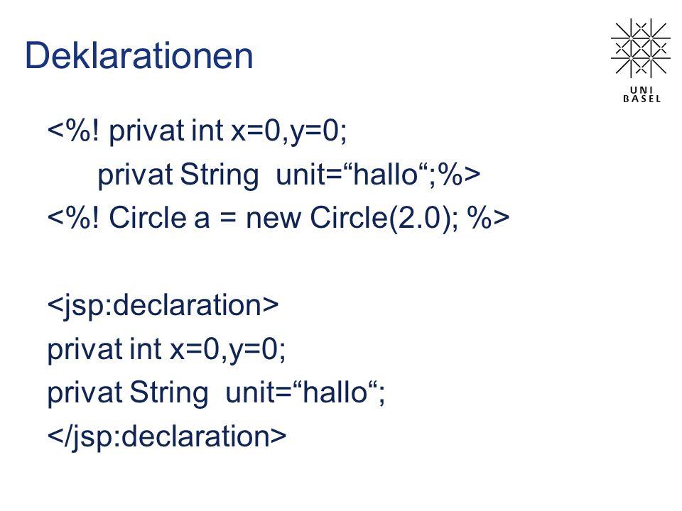 Deklarationen <%! privat int x=0,y=0; privat String unit=hallo;%> privat int x=0,y=0; privat String unit=hallo;
