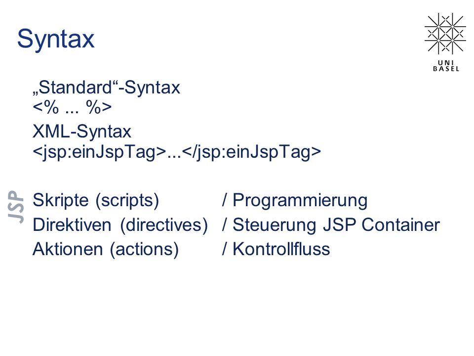 Syntax Standard-Syntax XML-Syntax... Skripte (scripts) / Programmierung Direktiven (directives) / Steuerung JSP Container Aktionen (actions) / Kontrol