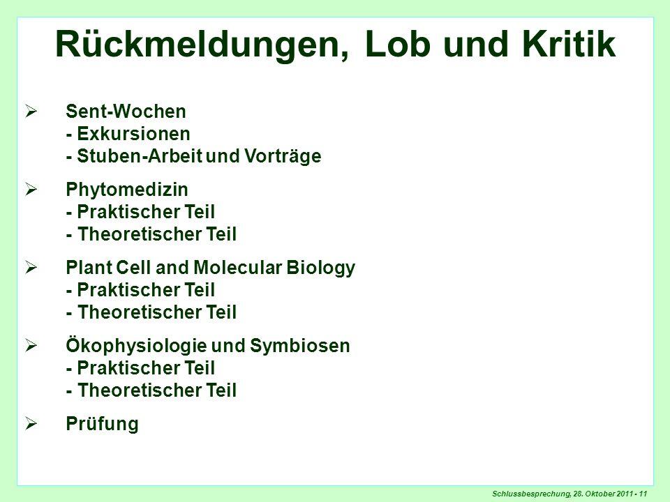Schlussbesprechung, 28. Oktober 2011 - 11 Rückmeldungen, Lob und Kritik Sent-Wochen - Exkursionen - Stuben-Arbeit und Vorträge Phytomedizin - Praktisc
