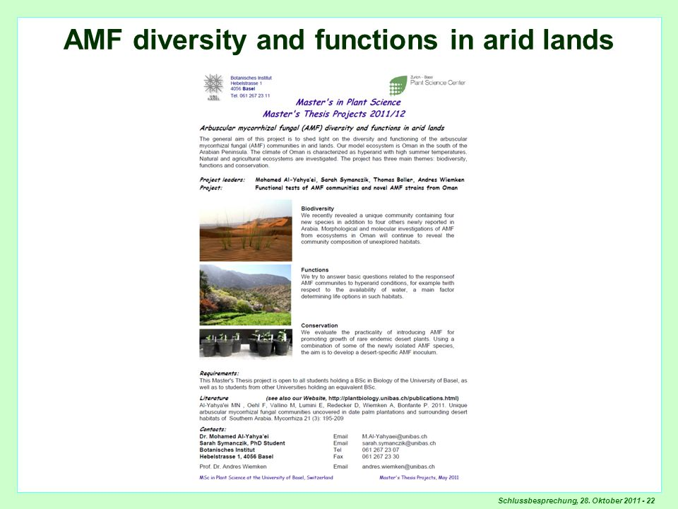 Schlussbesprechung, 28. Oktober 2011 - 22 AMF diversity and functions in arid lands