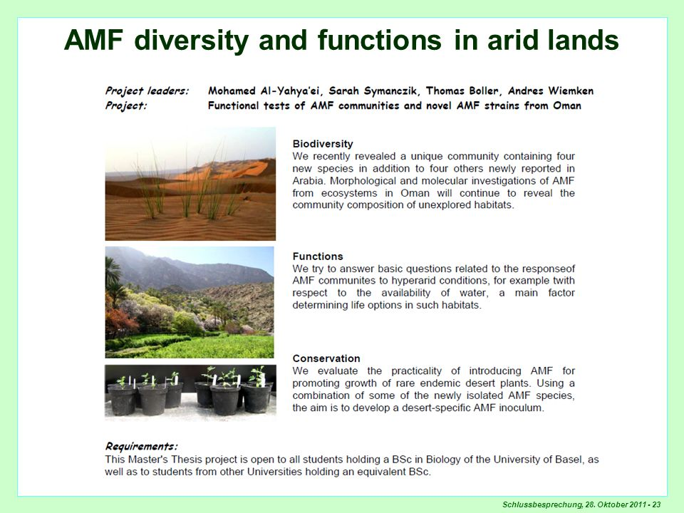 Schlussbesprechung, 28. Oktober 2011 - 23 AMF diversity and functions in arid lands