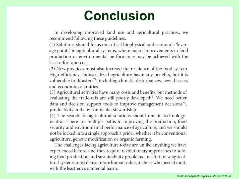 Schlussbesprechung, 28. Oktober 2011 - 8 Conclusion