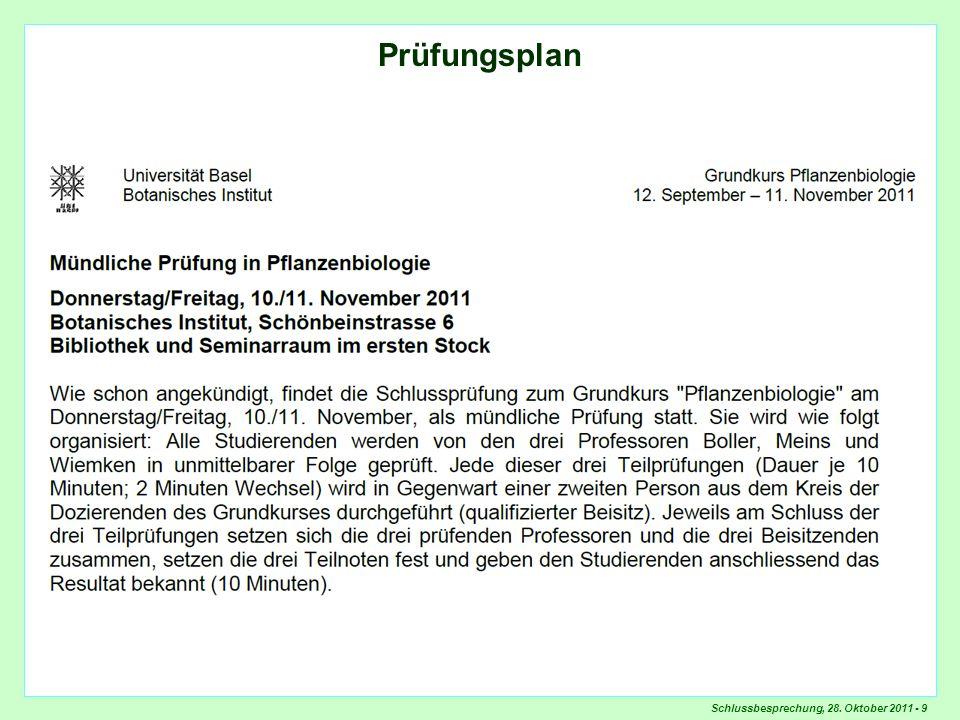 Schlussbesprechung, 28. Oktober 2011 - 9 Prüfungsplan