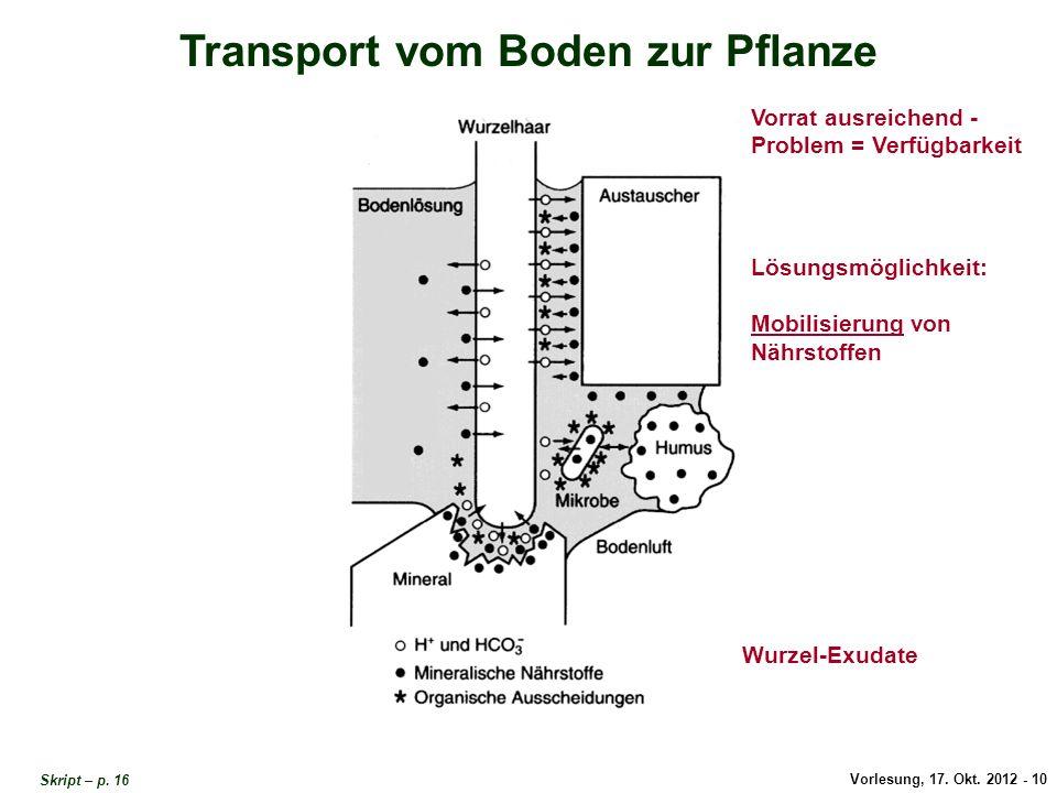 Vorlesung, 17. Okt. 2012 - 10 Transport vom Boden zur Pflanze Vorrat ausreichend - Problem = Verfügbarkeit Lösungsmöglichkeit: Mobilisierung von Nährs