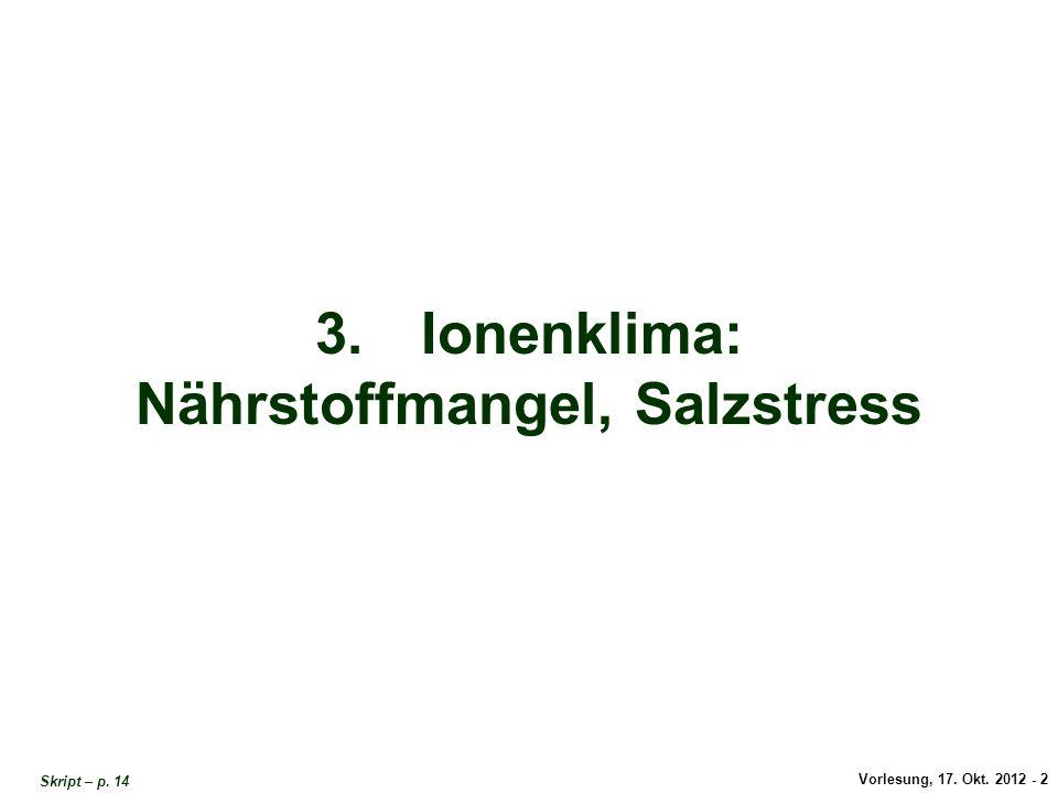 Vorlesung, 17. Okt. 2012 - 2 3.Ionenklima: Nährstoffmangel, Salzstress Skript – p. 14 Titel Ionenklima