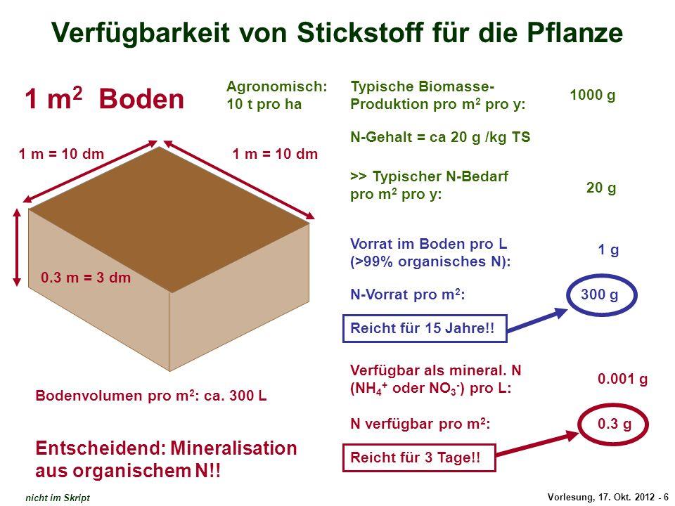 Vorlesung, 17. Okt. 2012 - 6 Verfügbarkeit von Stickstoff für die Pflanze 1 m = 10 dm 0.3 m = 3 dm Typische Biomasse- Produktion pro m 2 pro y: N-Geha
