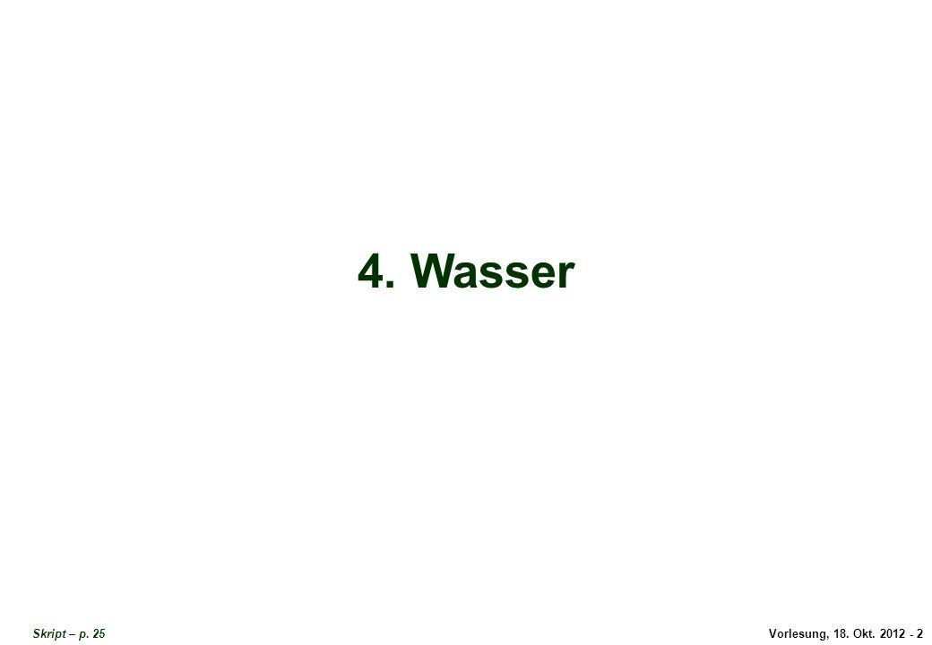 Vorlesung, 18. Okt. 2012 - 2 4. Wasser Skript – p. 25 Titel Wasser