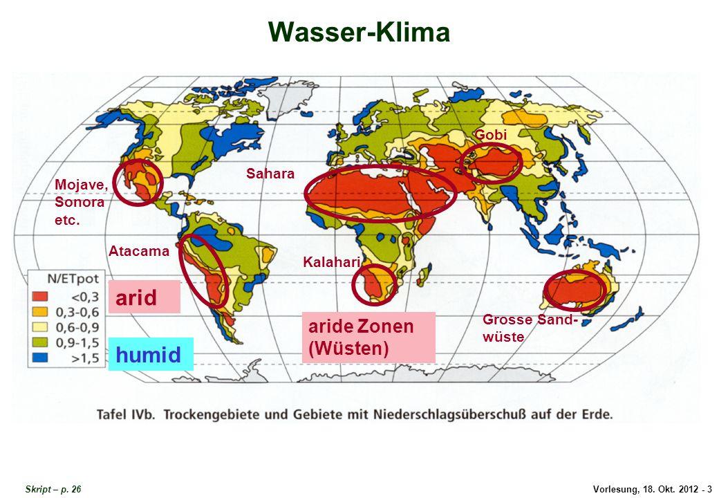 Vorlesung, 18. Okt. 2012 - 3 Wasser-Klima arid humid aride Zonen (Wüsten) Mojave, Sonora etc. Atacama Sahara Kalahari Gobi Grosse Sand- wüste Wasser-K