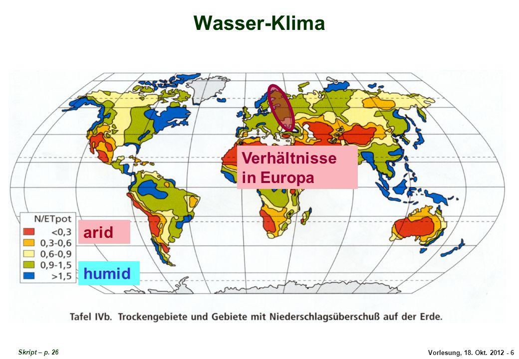 Vorlesung, 18. Okt. 2012 - 6 Wasser-Klima Verhältnisse in Europa Wasser-Klima in Europa Skript – p. 26 arid humid