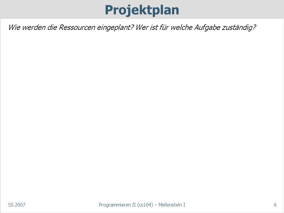 SS 2007Programmieren II (cs104) – Meilenstein I6 Projektplan Wie werden die Ressourcen eingeplant? Wer ist für welche Aufgabe zuständig?