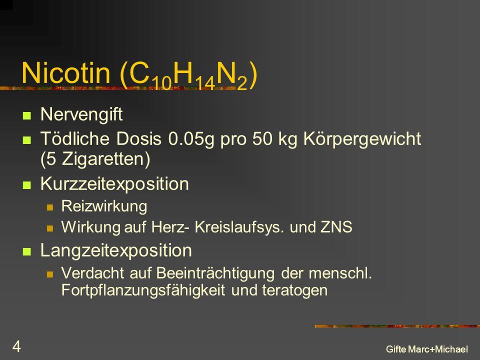 Gifte Marc+Michael 4 Nicotin (C 10 H 14 N 2 ) Nervengift Tödliche Dosis 0.05g pro 50 kg Körpergewicht (5 Zigaretten) Kurzzeitexposition Reizwirkung Wirkung auf Herz- Kreislaufsys.