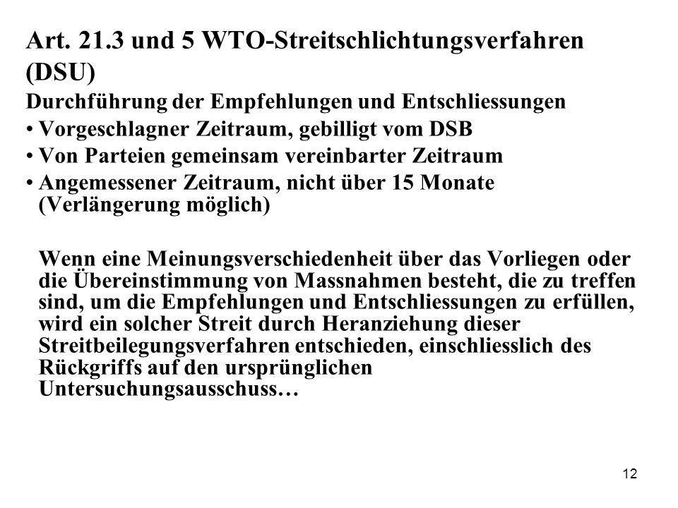 12 Art. 21.3 und 5 WTO-Streitschlichtungsverfahren (DSU) Durchführung der Empfehlungen und Entschliessungen Vorgeschlagner Zeitraum, gebilligt vom DSB