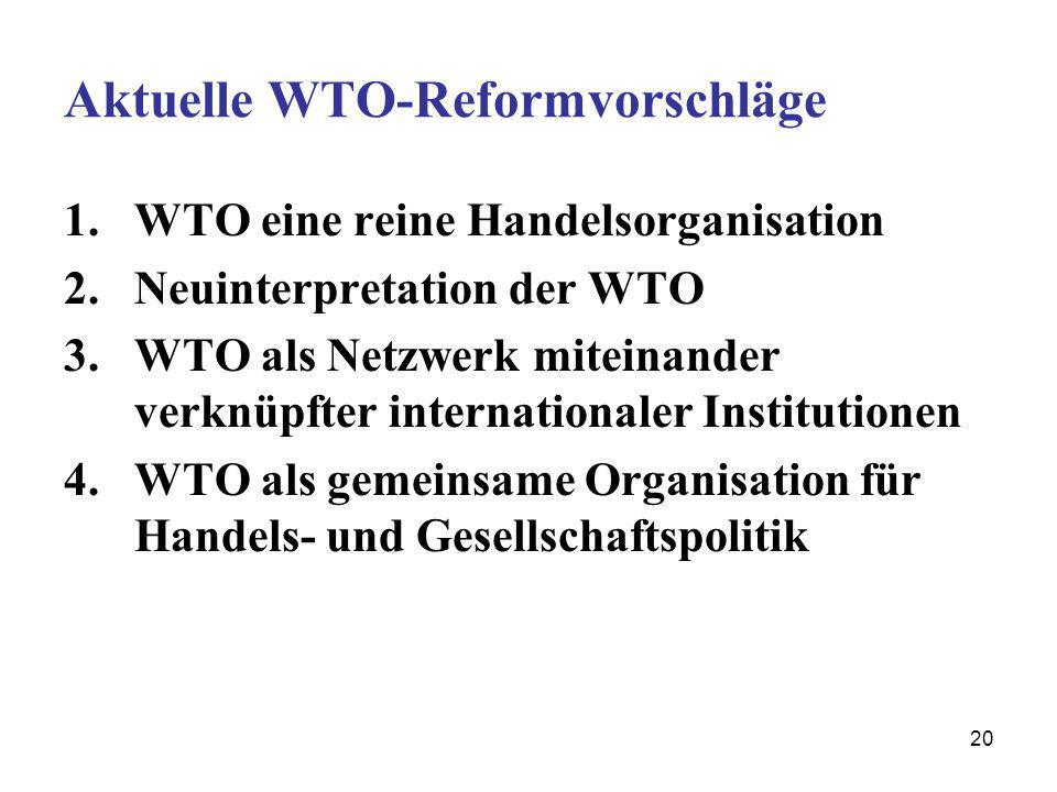 20 Aktuelle WTO-Reformvorschläge 1.WTO eine reine Handelsorganisation 2.Neuinterpretation der WTO 3.WTO als Netzwerk miteinander verknüpfter internati