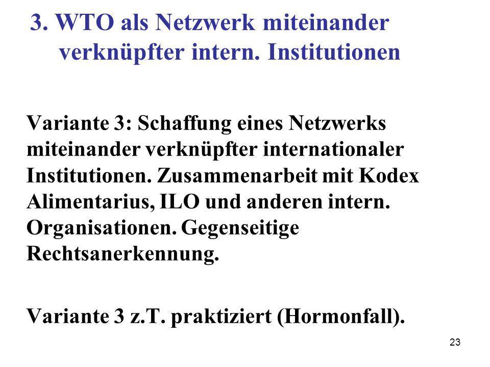 23 3. WTO als Netzwerk miteinander verknüpfter intern. Institutionen Variante 3: Schaffung eines Netzwerks miteinander verknüpfter internationaler Ins