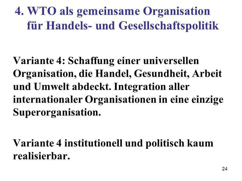 24 4. WTO als gemeinsame Organisation für Handels- und Gesellschaftspolitik Variante 4: Schaffung einer universellen Organisation, die Handel, Gesundh