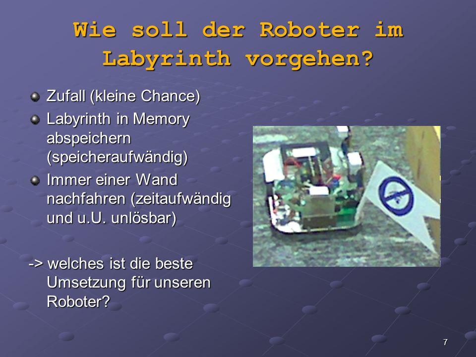 7 Wie soll der Roboter im Labyrinth vorgehen? Zufall (kleine Chance) Labyrinth in Memory abspeichern (speicheraufwändig) Immer einer Wand nachfahren (