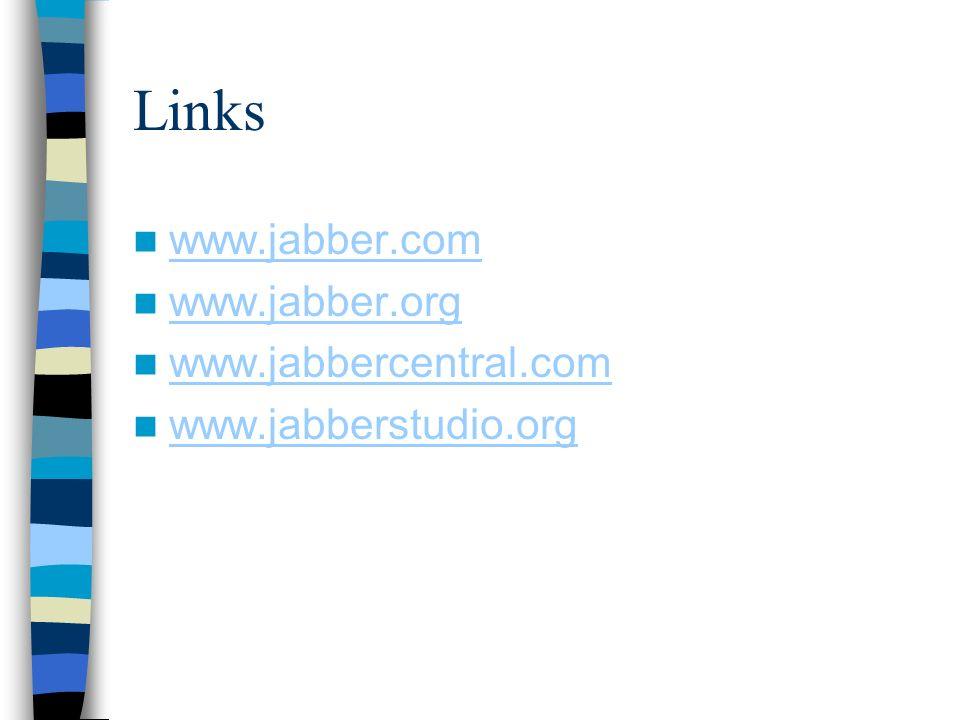 Links www.jabber.com www.jabber.org www.jabbercentral.com www.jabberstudio.org