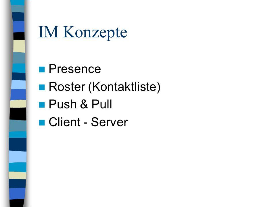 IM Konzepte Presence Roster (Kontaktliste) Push & Pull Client - Server