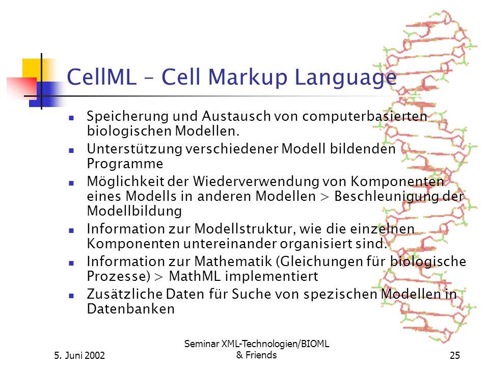 5. Juni 2002 Seminar XML-Technologien/BIOML & Friends25 CellML – Cell Markup Language Speicherung und Austausch von computerbasierten biologischen Mod