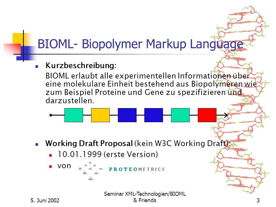 5. Juni 2002 Seminar XML-Technologien/BIOML & Friends3 Kurzbeschreibung: BIOML erlaubt alle experimentellen Informationen über eine molekulare Einheit
