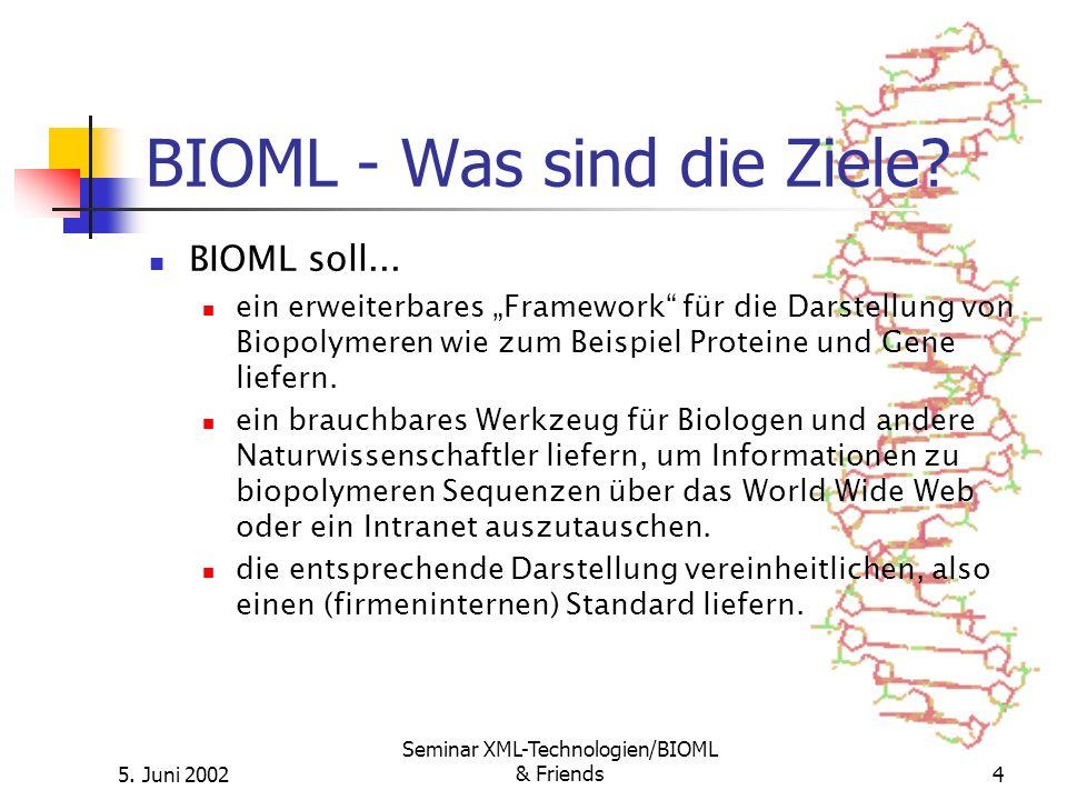 5. Juni 2002 Seminar XML-Technologien/BIOML & Friends4 BIOML - Was sind die Ziele? BIOML soll... ein erweiterbares Framework für die Darstellung von B
