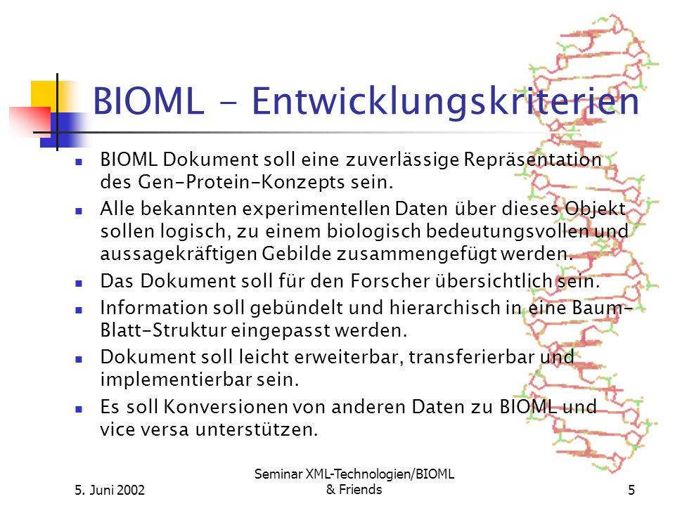 5. Juni 2002 Seminar XML-Technologien/BIOML & Friends5 BIOML - Entwicklungskriterien BIOML Dokument soll eine zuverlässige Repräsentation des Gen-Prot
