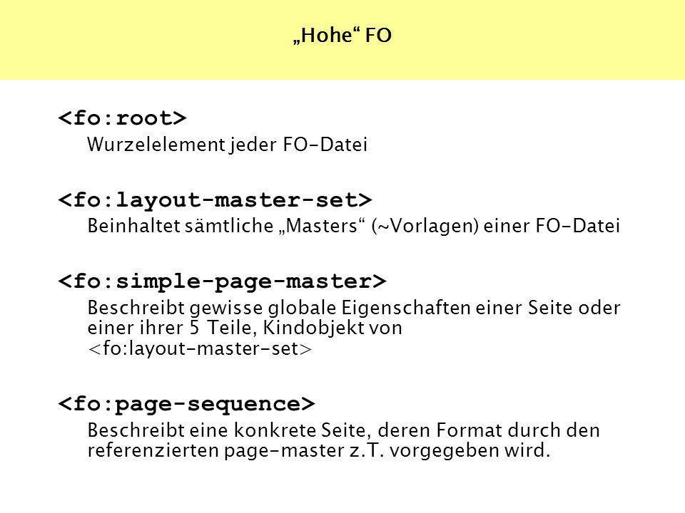 Wurzelelement jeder FO-Datei Beinhaltet sämtliche Masters (~Vorlagen) einer FO-Datei Beschreibt gewisse globale Eigenschaften einer Seite oder einer ihrer 5 Teile, Kindobjekt von Beschreibt eine konkrete Seite, deren Format durch den referenzierten page-master z.T.