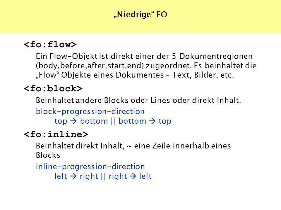 Ein Flow-Objekt ist direkt einer der 5 Dokumentregionen (body,before,after,start,end) zugeordnet.