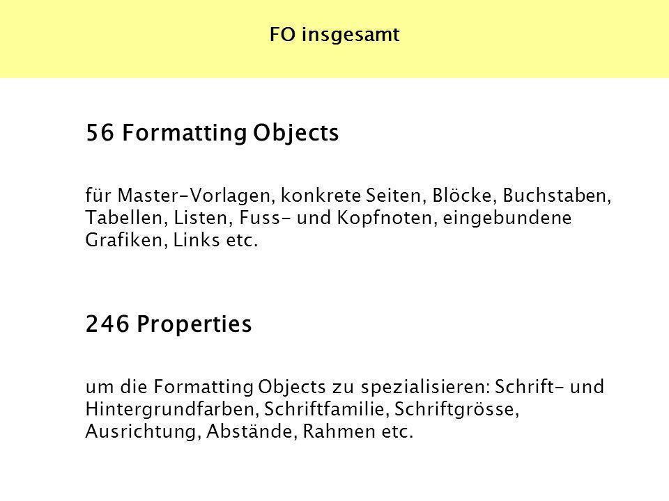 56 Formatting Objects für Master-Vorlagen, konkrete Seiten, Blöcke, Buchstaben, Tabellen, Listen, Fuss- und Kopfnoten, eingebundene Grafiken, Links et