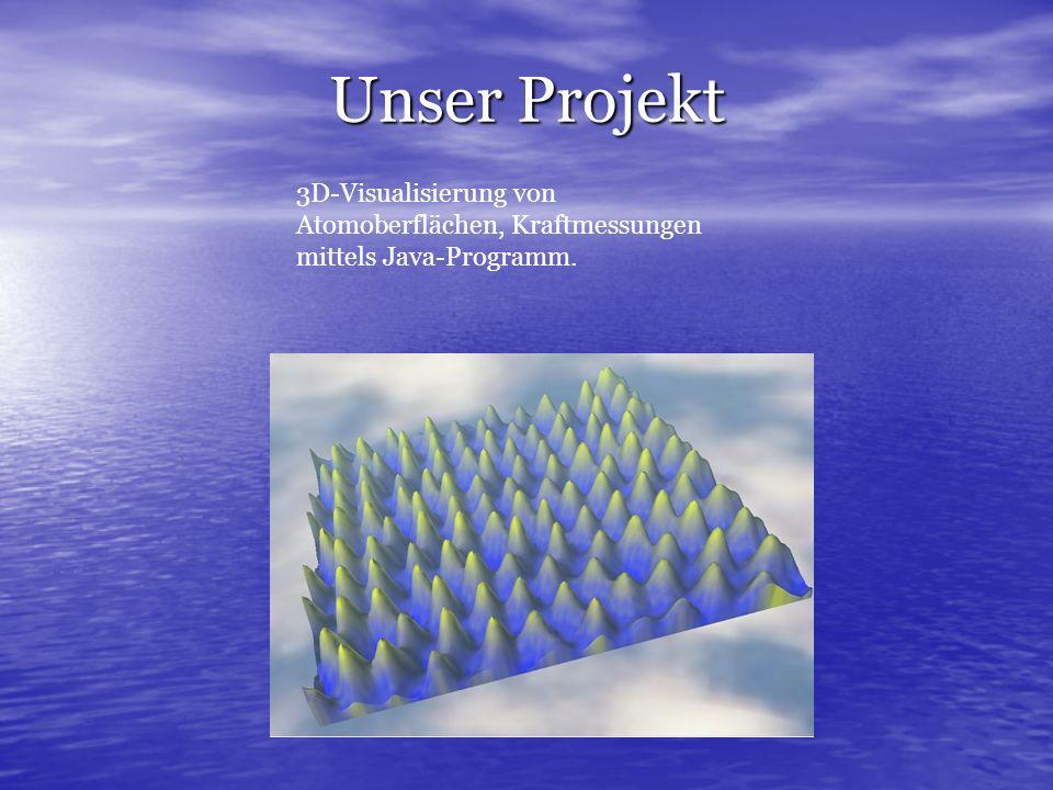 Unser Projekt 3D-Visualisierung von Atomoberflächen, Kraftmessungen mittels Java-Programm.