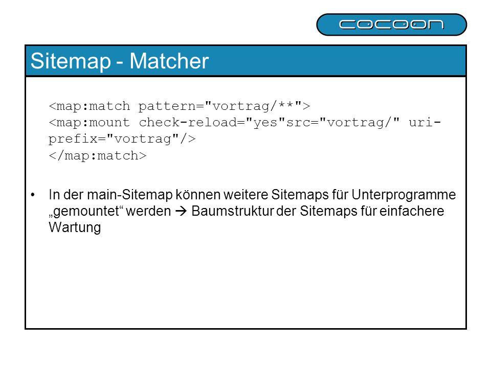 Sitemap - Matcher In der main-Sitemap können weitere Sitemaps für Unterprogramme gemountet werden Baumstruktur der Sitemaps für einfachere Wartung