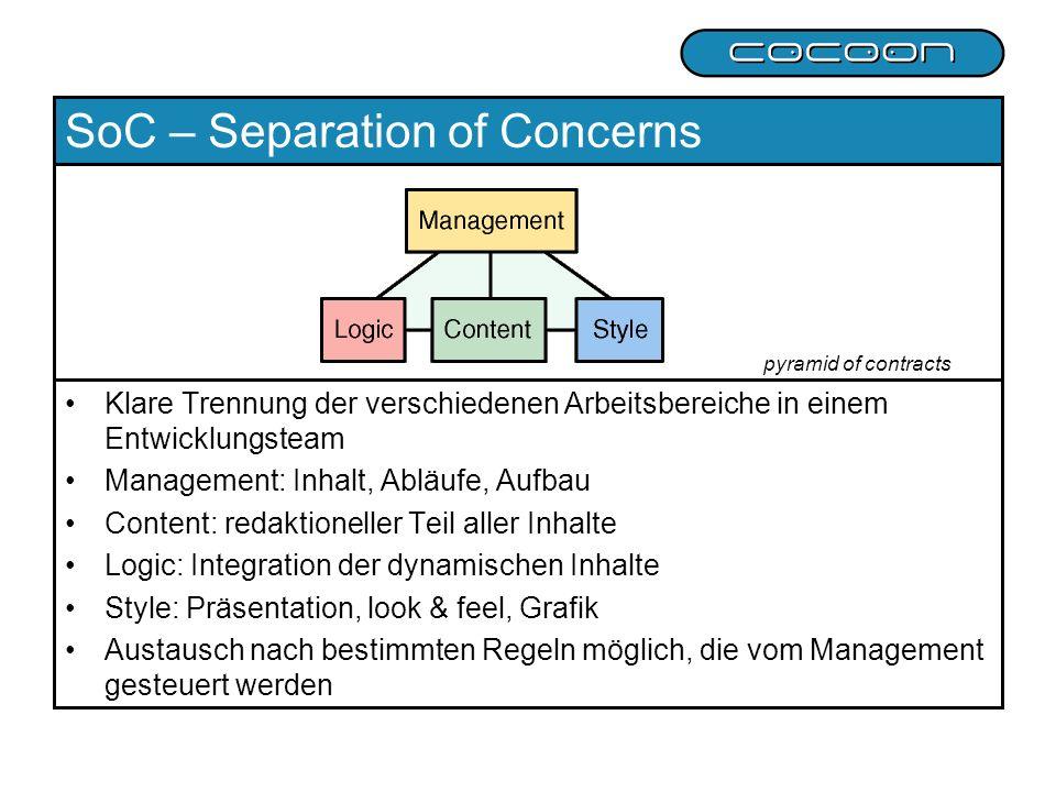 SoC – Separation of Concerns Klare Trennung der verschiedenen Arbeitsbereiche in einem Entwicklungsteam Management: Inhalt, Abläufe, Aufbau Content: r