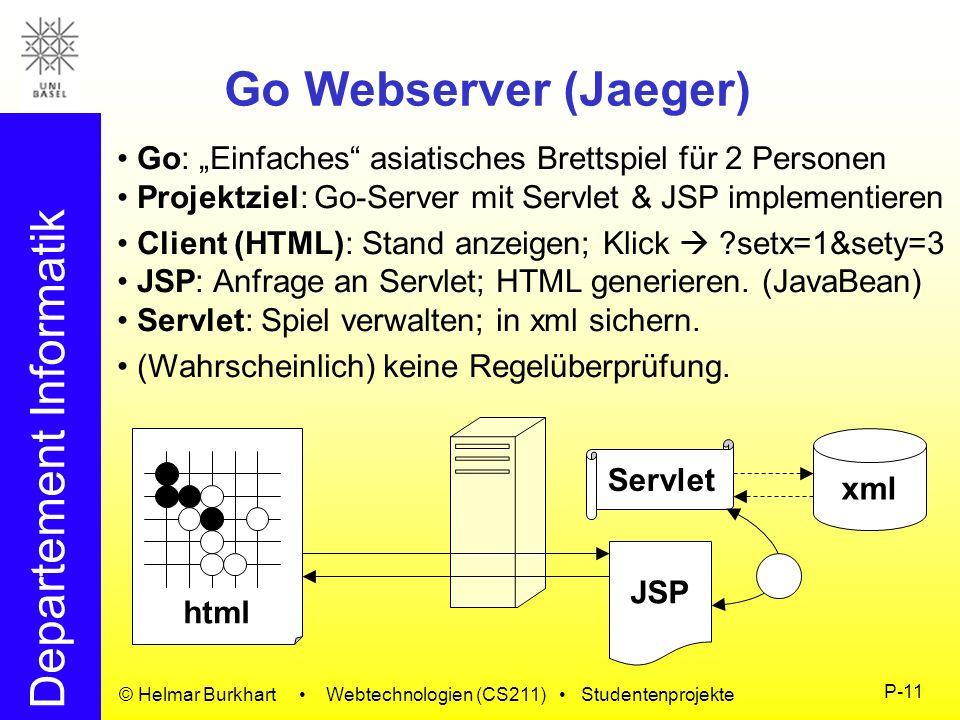 Departement Informatik © Helmar Burkhart Webtechnologien (CS211) Studentenprojekte P-11 Go Webserver (Jaeger) Go: Einfaches asiatisches Brettspiel für