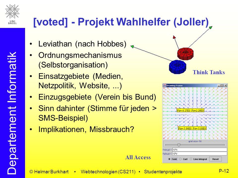 Departement Informatik © Helmar Burkhart Webtechnologien (CS211) Studentenprojekte P-12 [voted] - Projekt Wahlhelfer (Joller) Leviathan (nach Hobbes)
