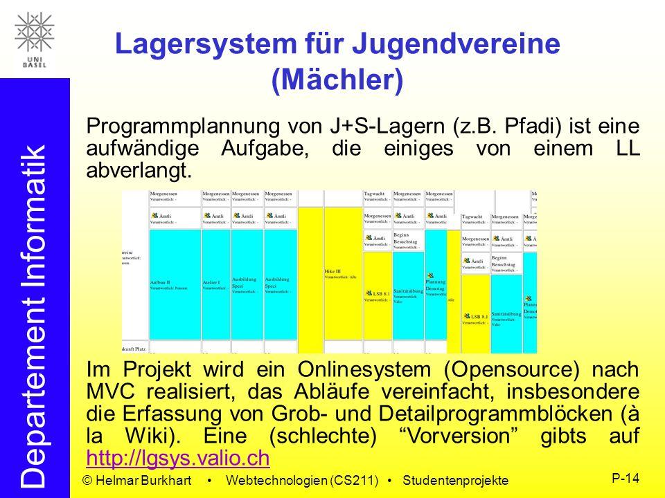 Departement Informatik © Helmar Burkhart Webtechnologien (CS211) Studentenprojekte P-14 Lagersystem für Jugendvereine (Mächler) Programmplannung von J
