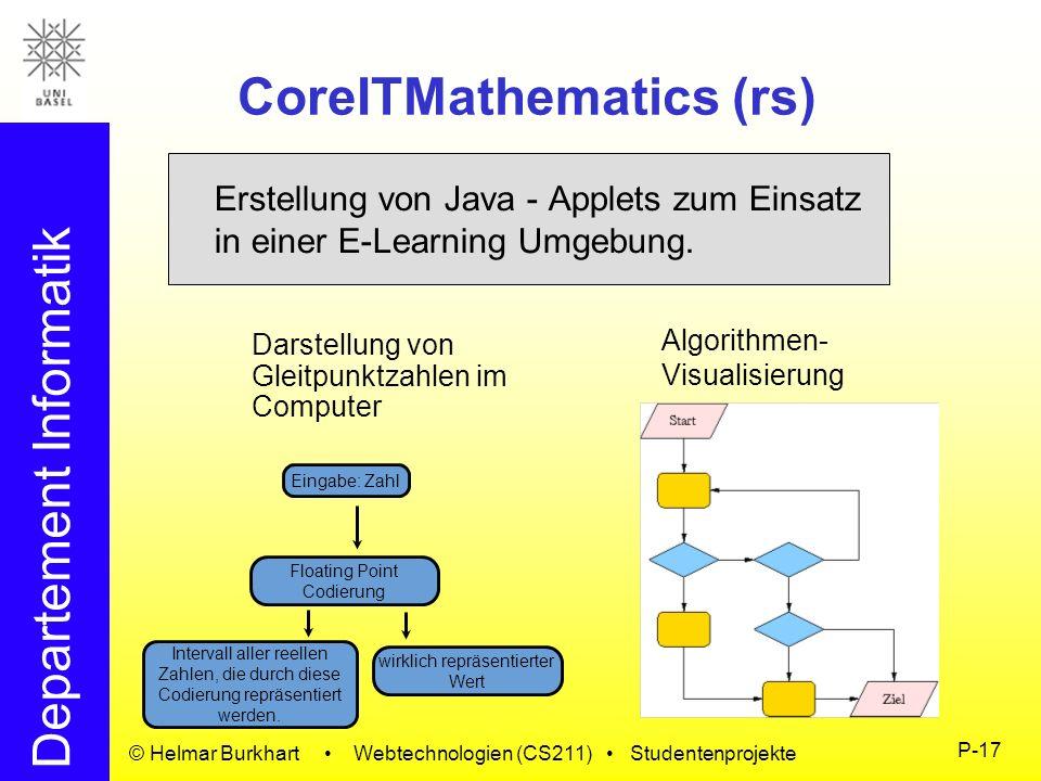 Departement Informatik © Helmar Burkhart Webtechnologien (CS211) Studentenprojekte P-17 CoreITMathematics (rs) Erstellung von Java - Applets zum Einsa