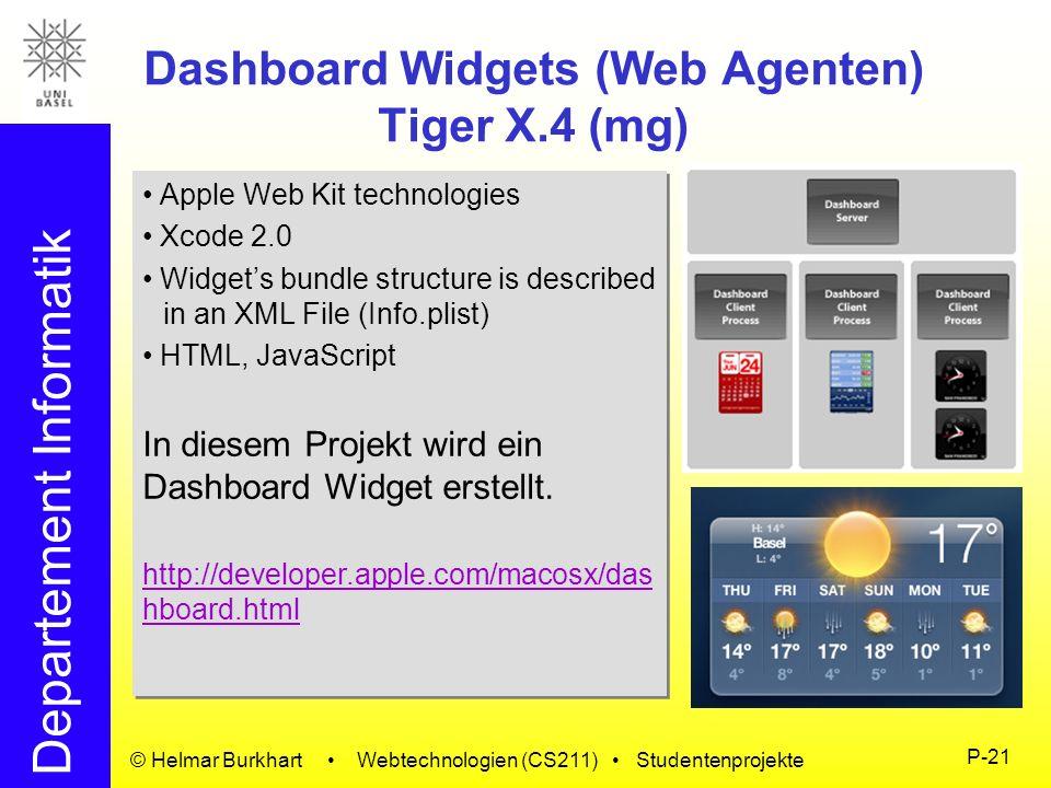Departement Informatik © Helmar Burkhart Webtechnologien (CS211) Studentenprojekte P-21 Dashboard Widgets (Web Agenten) Tiger X.4 (mg) Apple Web Kit t
