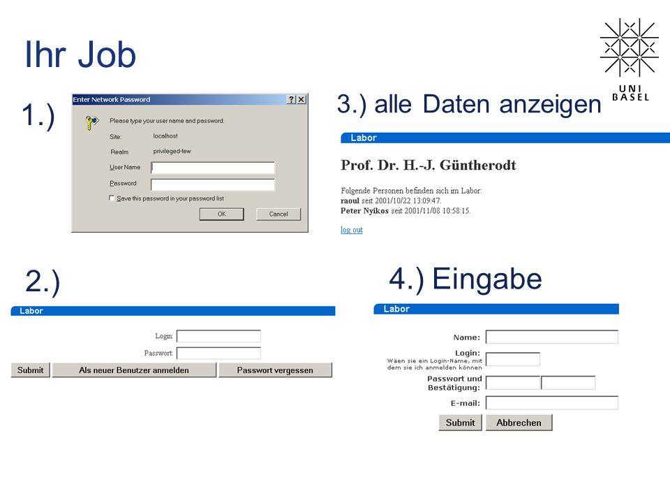 3.) alle Daten anzeigen Ihr Job 1.) 4.) Eingabe 2.)