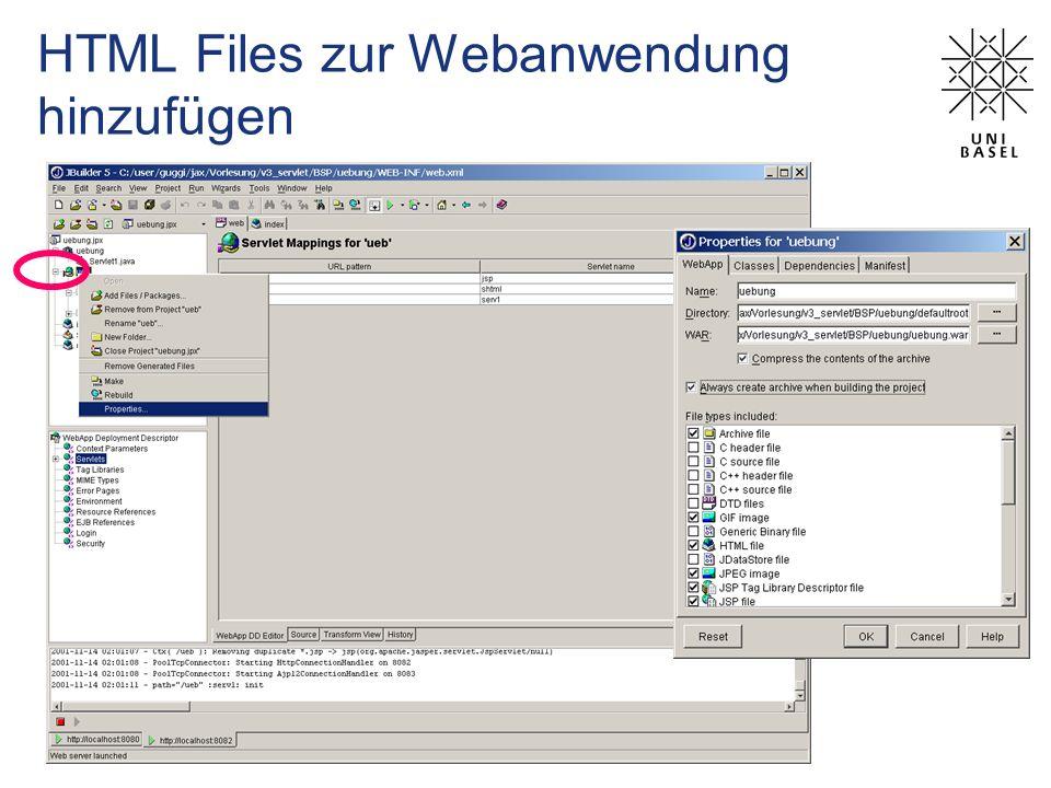 HTML Files zur Webanwendung hinzufügen