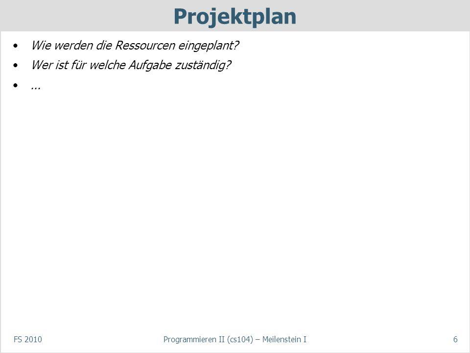 FS 2010Programmieren II (cs104) – Meilenstein I7 Dokumentation Wie werden die Aktivitäten/Entscheidungen dokumentiert (Blog, Textdokument, etc.).