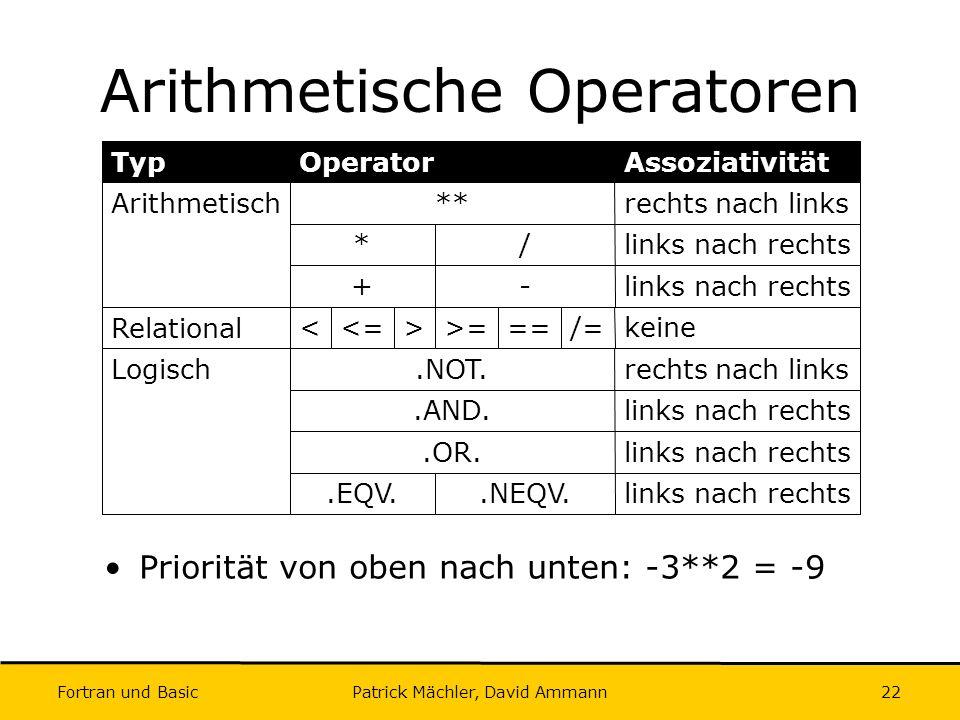 Fortran und Basic Patrick Mächler, David Ammann22 Arithmetische Operatoren links nach rechts.NEQV..EQV. links nach rechts.OR. links nach rechts.AND. r