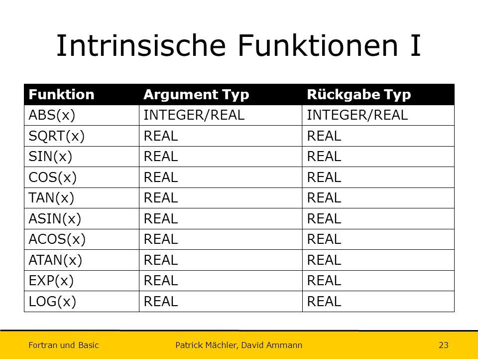 Fortran und Basic Patrick Mächler, David Ammann23 Intrinsische Funktionen I REAL LOG(x) REAL EXP(x) REAL ATAN(x) REAL ACOS(x) REAL ASIN(x) REAL TAN(x)