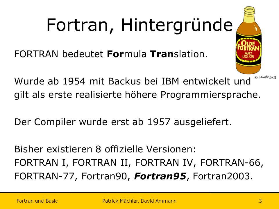 Fortran und Basic Patrick Mächler, David Ammann24 Intrinsische Funktionen II Unwandlungsfunktionen: REAL INTEGER: INT(x), NINT(x), FLOOR(x) REAL REAL: FRACTION(x) INTEGER REAL: REAL(x) Diverse Funktionen: MAX(x1, x2, …, xn), MIN(x1, x2, …, xn), MOD(x,y)