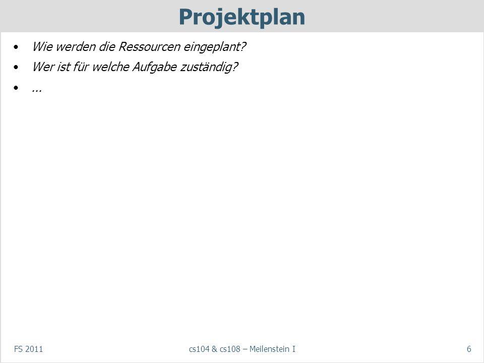FS 2011cs104 & cs108 – Meilenstein I6 Projektplan Wie werden die Ressourcen eingeplant.