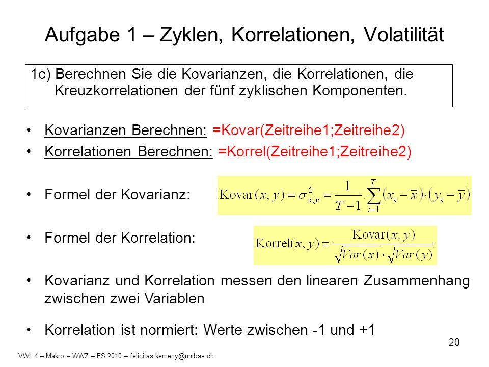 20 Kovarianzen Berechnen: =Kovar(Zeitreihe1;Zeitreihe2) Korrelationen Berechnen: =Korrel(Zeitreihe1;Zeitreihe2) Formel der Kovarianz: Formel der Korre