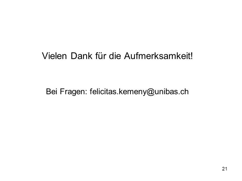 21 Vielen Dank für die Aufmerksamkeit! Bei Fragen: felicitas.kemeny@unibas.ch