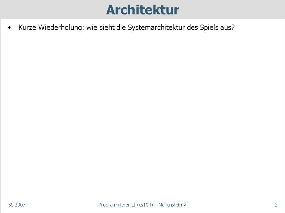 SS 2007Programmieren II (cs104) – Meilenstein V3 Architektur Kurze Wiederholung: wie sieht die Systemarchitektur des Spiels aus