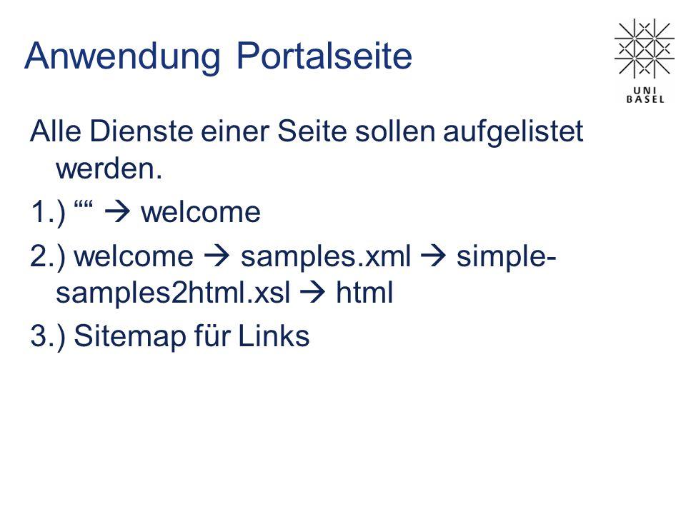 Anwendung Portalseite Alle Dienste einer Seite sollen aufgelistet werden. 1.) welcome 2.) welcome samples.xml simple- samples2html.xsl html 3.) Sitema